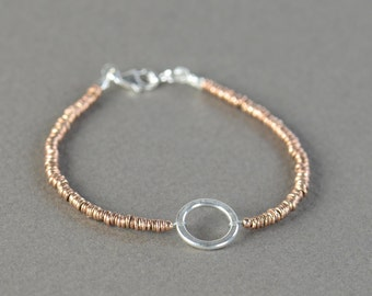 Karma Sterling silver bracelet, eternity bracelet, friendship bracelet,delicate  bracelet, circle bracelet, Karma bracelet,Rose bracelet