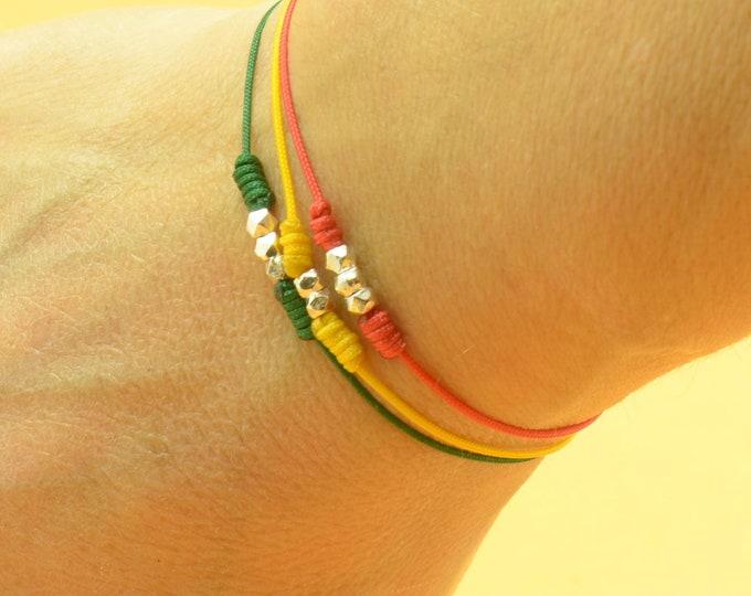 Sterling Silver Family bracelet ,friendship.Karma healing protection red string kabbalah bracelet.One bead for each member of your family