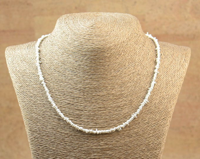 Sterling silver irregular beads necklace