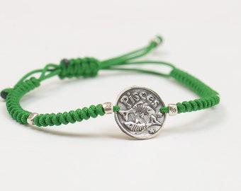 Sterling silver Zodiac bracelet.Artisan Bead. Fine Silver.Zodiac Jewelry.Cord Jewelry.Horoscope,Constellation.Mens bracelet.Fine Silver