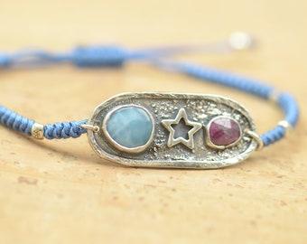 Artisan handmade Larimar and ruby bracelet.Gemstone setting Metalsmithing silversmith.Unique piece.Star Universe.Moon Bracelet
