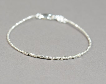 Faceted sterling silver beads  bracelet