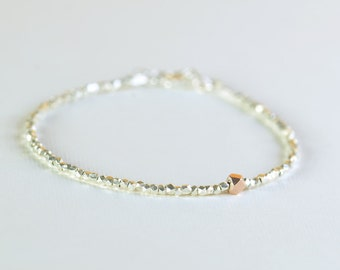 Faceted sterling silver beads  bracelet with Rose vermeil sterling silver bead
