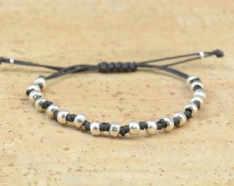 Faceted sterling silver beads - adjustable  bracelet - Gift for him - Boyfrined -Mens Bracelet-  Women bracelet