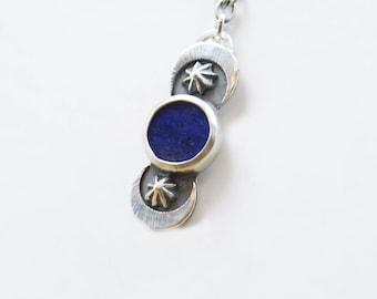 Lapis Lazuli and sterling silver pendant. Artisan flower Moon necklace.Lapis Lazuli gemstone.Unique.Gemstone.Metalsmithing.