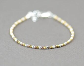 3 Gold color sterling silver beads  bracelet