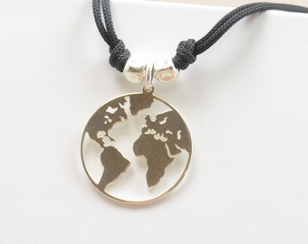 Sterling silver Earth planet charm necklace pendant-Sterling silver.Mens or women.World Globe