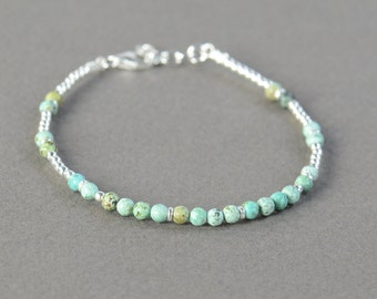 SALE- Green turquoise and sterling silver beads  bracelet