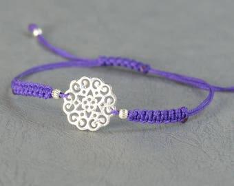 SALE-Sterling silver Mandala flower of life bracelet.Kabbalah bracelet