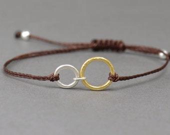 Sterling silver and gold Karma  bracelet