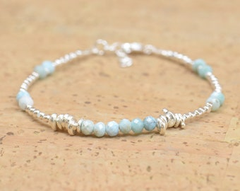 Larimar beads and sterling silver beads  bracelet
