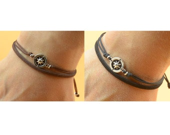 Bracelet for couples.Sterling silver Compass Bracelet.Bracelet set.Durable.Set of 2.Wind Rose.Couples jewelry.Choose color.BBF