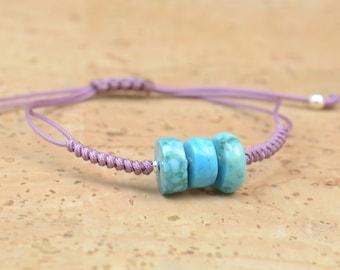 SALE-Turquoise bracelet-Cord woven bracelet-Turquoise adjustable bracelet.Durable bracelet