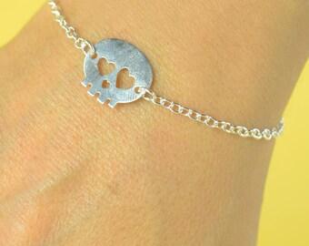 Skull Sterling silver bracelet, Skull bracelet, friendship bracelet,delicate bracelet, hallowen bracelet, silver bracelet