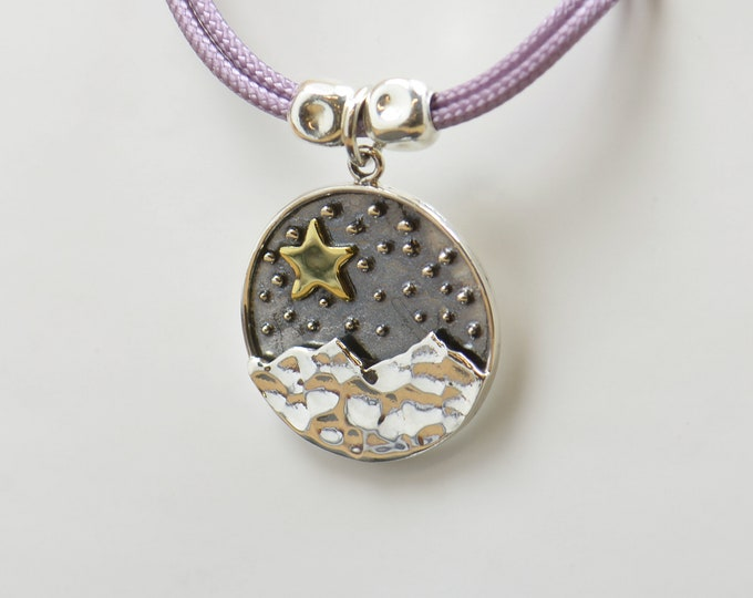 Sterling silver Star Mountain night Camping charm necklace pendant-Sterling silver and gold vermeil.Mens or women.Mountain pendant