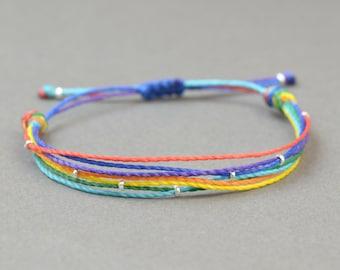 Rainbow bracelet.Thread bracelet, multi thread bracelet,lgbtq pride .Men bracelet,mens gift,mens jewelry,simple  bracelet