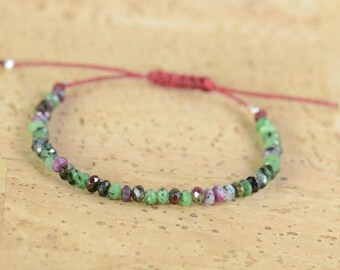 Zoisite and sterling silver beads bracelet