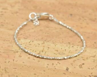 Tiny sterling silver beads  bracelet