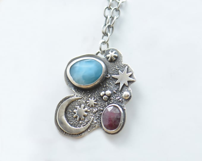 Larimar ruby and sterling silver pendant. Artisan stars moon pendant universe.Unique.Sterling silver.Metalsmithing