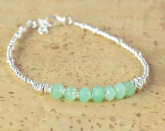Chrysoprase and sterling silver beads  bracelet