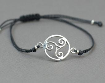 Celtic triskel sterling silver bracelet.Men or women