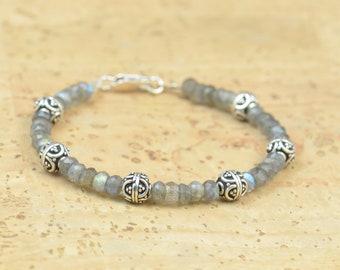 Labradorite and sterling silver beads  bracelet