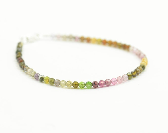 Tourmaline  AAA first quality beads and sterling silver bracelet