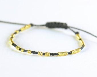Sterling silver vermeil  beads  adjustable bracelet