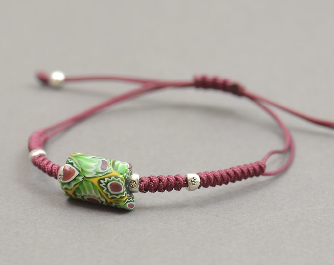 Antique African Venetian bead and sterling silver beads bracelet.Choose your piece and color thread