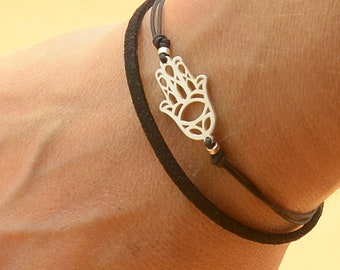 Sterling Silver Hamsa Hand Fatima hand protection charm bracelet. Mens bracelet.Good Karma bracelet.Double cord,Red kabbalah Bracelet.Men