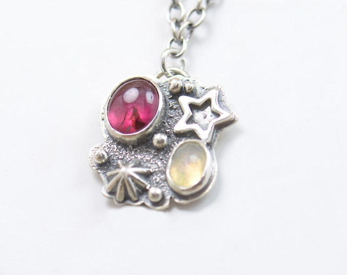 Ethiopian opal,pink tourmaline and sterling silver pendant. Artisan stars pendant universe.Unique.Sterling silver.Metalsmithing.Welo Opal