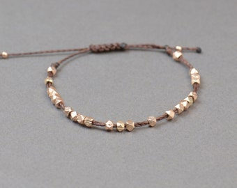 Rose gold adjustable bracelet.Silver Thread Bracelet, Friendship Bracelet ,Sterling Silver Rose Friendship Bracelet,Cord Bracelet