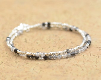 Double strand tourmalinated quartz and sterling silver bracelet.Dainty bracelet.Wrap.Sterling Silver,tourmalinated quartz.Black Turmaline
