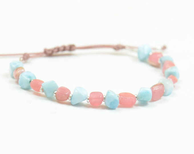 Rhodochrosite and larimar with sterling silver beads bracelet,healing Energy properties ,protection Chakra.Good Vibres.Pink blue Bracelet