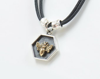 Sterling silver Bee charm necklace pendant-Sterling silver and bronze Mens or women.Silver and vermeil gold