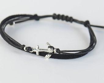 Sterling Silver anchor charm bracelet. Mens bracelet
