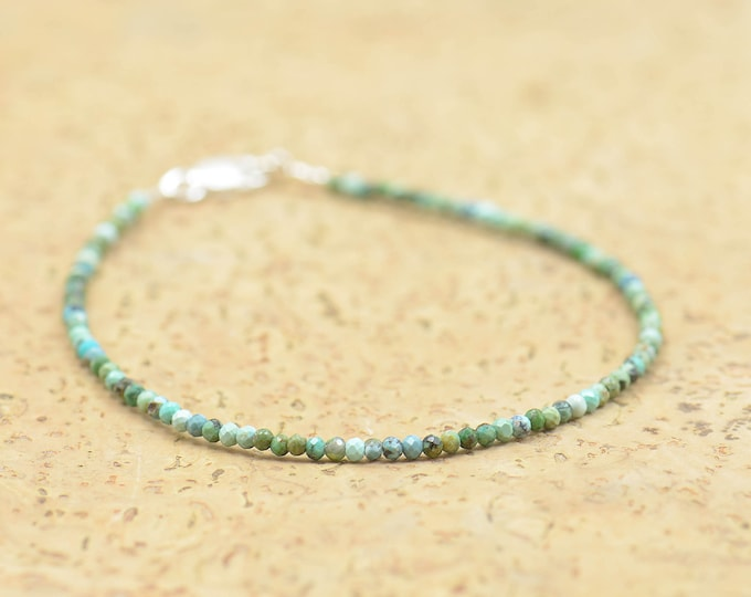 Green african Turquoise and sterling silver bracelet