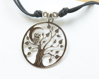 Sterling silver Owl on tree charm necklace pendant-Sterling silver.Mens or women