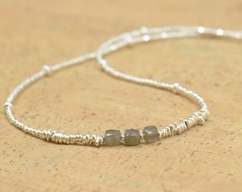Labradorite and sterling silver beads necklace