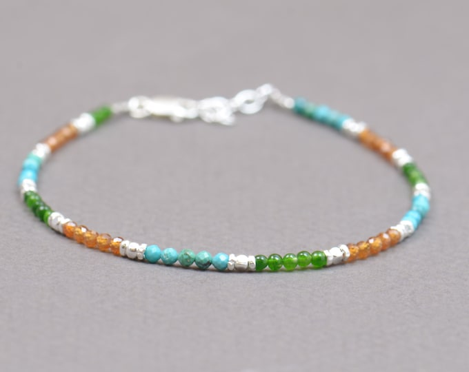 Turquoise,Green Jade, dark Citrine and sterling silver beads bracelet