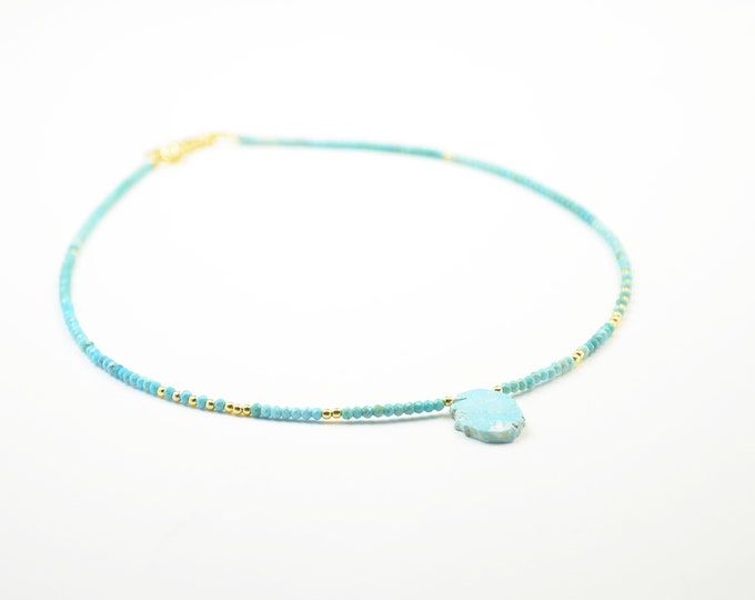 Real Turquoise and Vermeil gold Sterling silver and turquoise necklace