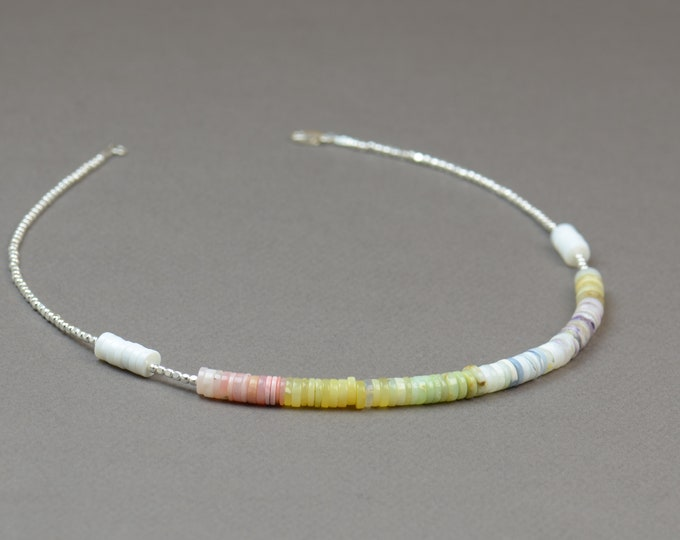 Sterling silver and opal beads necklace.Pink blue purple opal necklace.