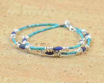 Double strand gemstones and sterling silver beads bracelet.Dainty bracelet.Wrap.Turquoise,lapis lazuli,sterling silver
