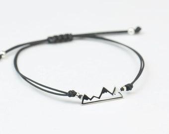Sterling silver mountain charm bracelet.Mens gift.unisex climbing bracelet.Braided cord.Waterproof bracelet.27 colors