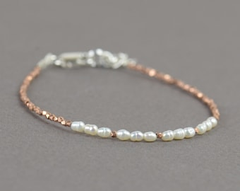 Rose gold Sterling silver and pearls bracelet