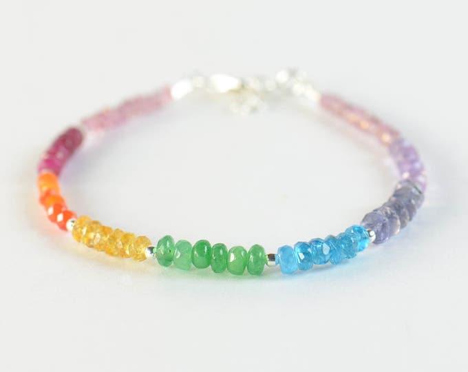 7 Chakras gemstones bracelet. Pink Quartz Ruby Carnelian Citrine Onyx Jade Iolite Amethyst.Seven Chakras Rainbow bracelet
