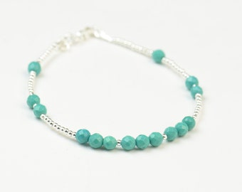 SALE- Turquoise color beads and sterling silver beads  bracelet
