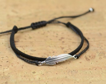 Sterling Silver feather charm bracelet. Mens bracelet.Hemp Bracelet.men Bracelet