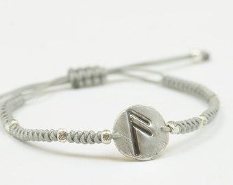Rune Viking Bracelet Amulet success prosperity Magic Symbols and Runes,Rune Jewelry,Pagan.Artisan handmade sterling silver bead