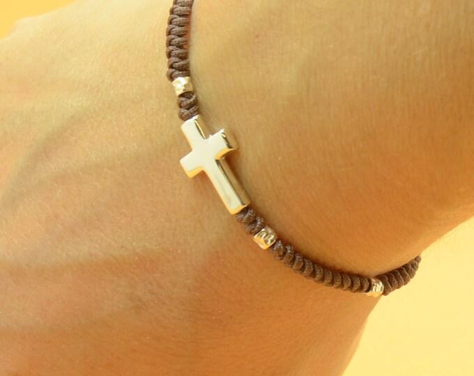 Sterling silver cross charm bracelet.Mens gift.unisex cross bracelet